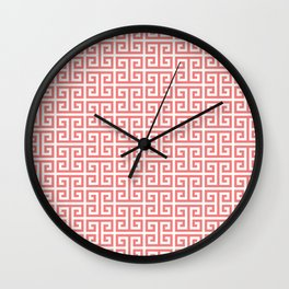 Coral and White Greek Key Pattern Wall Clock
