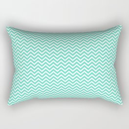 Tiffany Aqua Blue Mini Chevron Stripes Rectangular Pillow
