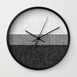 Black and White Graphic Burlap Pattern Stripe Wall Clock
