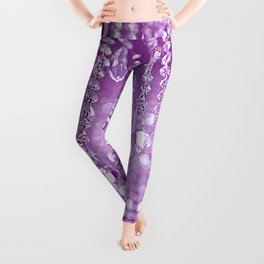 Sparkly Purple Glass Crystals and Lights Leggings