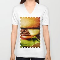 hamburger V-neck T-shirts featuring Hamburger by Mauricio Togawa