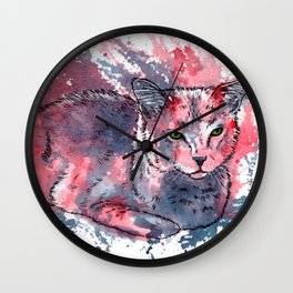 Cat acrylic painting, animal abstract portrait Wall Clock