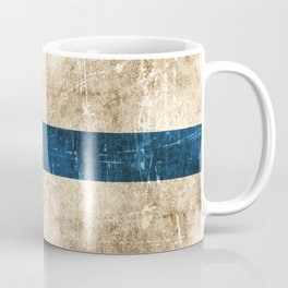 Vintage Aged and Scratched Finnish Flag Coffee Mug