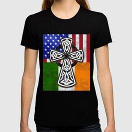 St. Patricks Day Irish American CelticCross Flag Shirt T-shirt