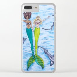 Floating Mermaids Clear iPhone Case