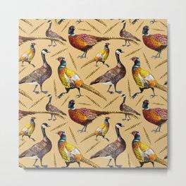 Vintage brown orange colorful pheasant birds pattern Metal Print