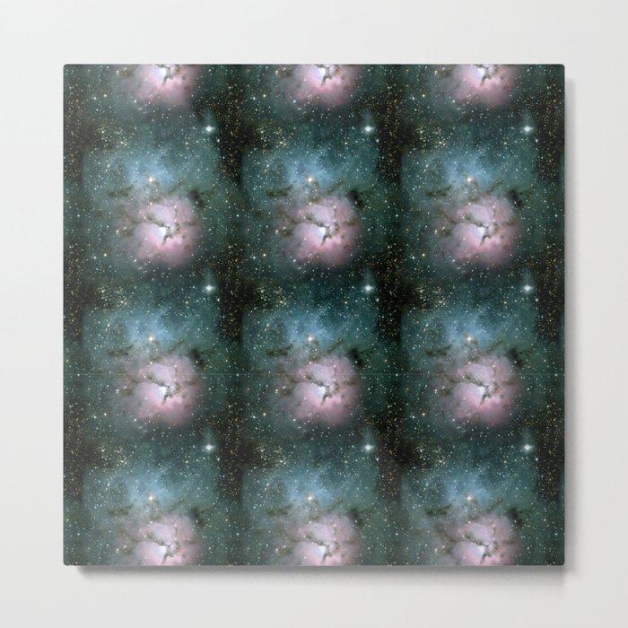 Green and Pink Burst Galaxy Metal Print