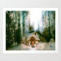 "hobbit Art Prints featuring ""HOBBIT HOUSE"" by FOXART  - JAY PATRICK FOX"
