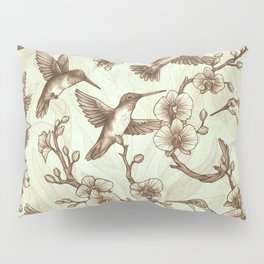 Sepia Hummingbird Pattern Pillow Sham