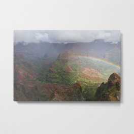 Waimea Canyon Rainbow Metal Print