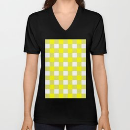 Gingham (Yellow/White) Unisex V-Neck