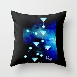 Virgo Constellation in Blue Topaz - Star Signs and Birth Stones Throw Pillow