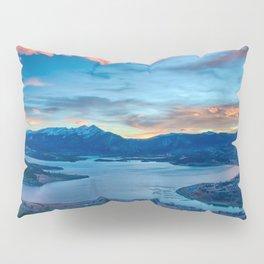 Lakeside Sunset // Mile High Rocky Mountain Orange and Blue Sky Pillow Sham