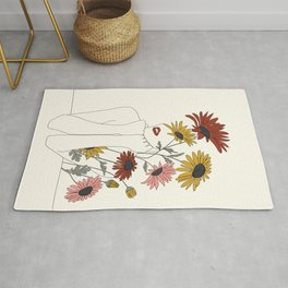 Colorful Thoughts Minimal Line Girl with Sunflowers Rug