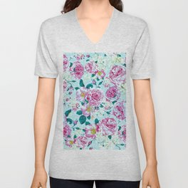 Vintage modern pink green teal watercolor floral Unisex V-Neck
