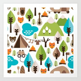 Wild camping trip with fox and wild animals illustration Art Print