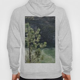 Sunny River Canyon With Churning Water and Pine Tree Hoody