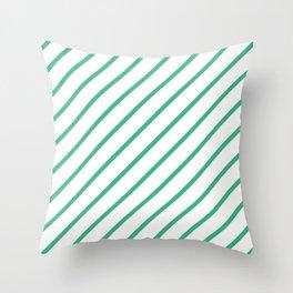 Diagonal Lines (Mint/White) Throw Pillow