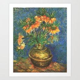 Fritillaries (lilies) in a Copper Vase by Vincent van Gogh Art Print