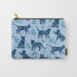 Cats, Damask Blue Carry-All Pouch