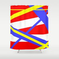 bands Shower Curtains featuring Bands 2 retro stripes by Brian Raggatt