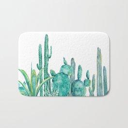 green cactus jungle watercolor Bath Mat