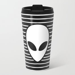 Alien on Black and White stripes Travel Mug