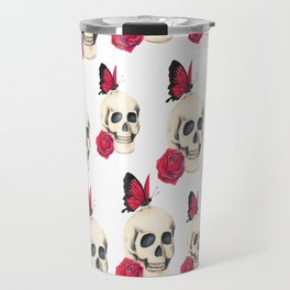 Skull, red rose and red butterfly Travel Mug