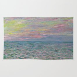"""Claude Monet """"Coucher de soleil à Pourville, pleine mer"""" Rug"""