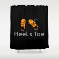 subaru Shower Curtains featuring Heel & Toe by Vehicle