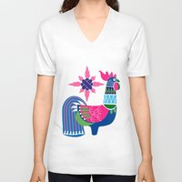 oriental V-neck T-shirts featuring Oriental rooster by wonman kim