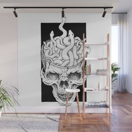 Snake pit in a skull Wall Mural