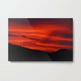 Red Sky Black Hills Sunset Landscape Metal Print