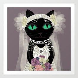 Peony Cat Bride Art Print