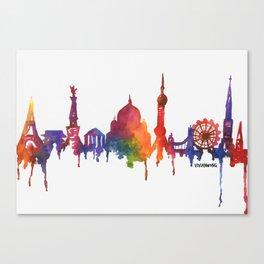 Rainbow Watercolour Monuments Canvas Print