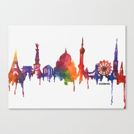 Rainbow Watercolour Monuments Canvas Print