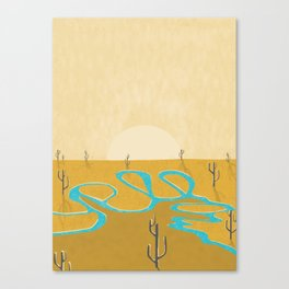 A stream of water in warm yellow desert Canvas Print