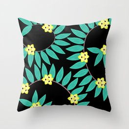 Spiral Ginger Leaves With African Iris Flowers Throw Pillow