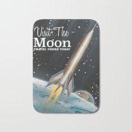 visit the moon vintage science fiction poster Bath Mat