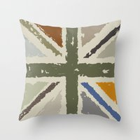 union jack Throw Pillows featuring Union Jack by Chicklets & Bananas