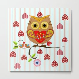 Valentine's day owl with hearts Metal Print