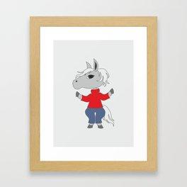 Cartoon style horse drawing. Animal illustration. Framed Art Print