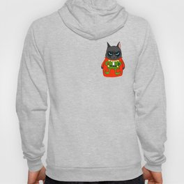 Black Cat in Christmas Sweater  05 Hoody