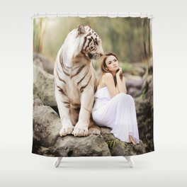 White Tiger from Bengal | Tigre blanc du Bengale Shower Curtain