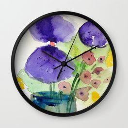 two pansys Wall Clock