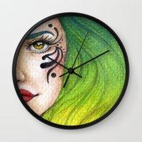 fierce Wall Clocks featuring Fierce  by StaceyPatinoArt
