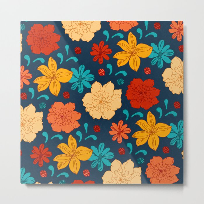 Colorful flower pattern Metal Print