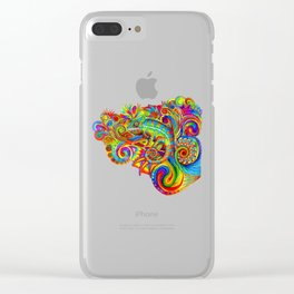 Psychedelizard Colorful Psychedelic Chameleon Rainbow Lizard Clear iPhone Case
