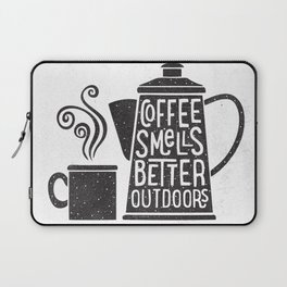 COFFEE SMELLS BETTER OUTDOORS Laptop Sleeve