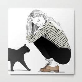 A Black Cat Named Ollie Metal Print